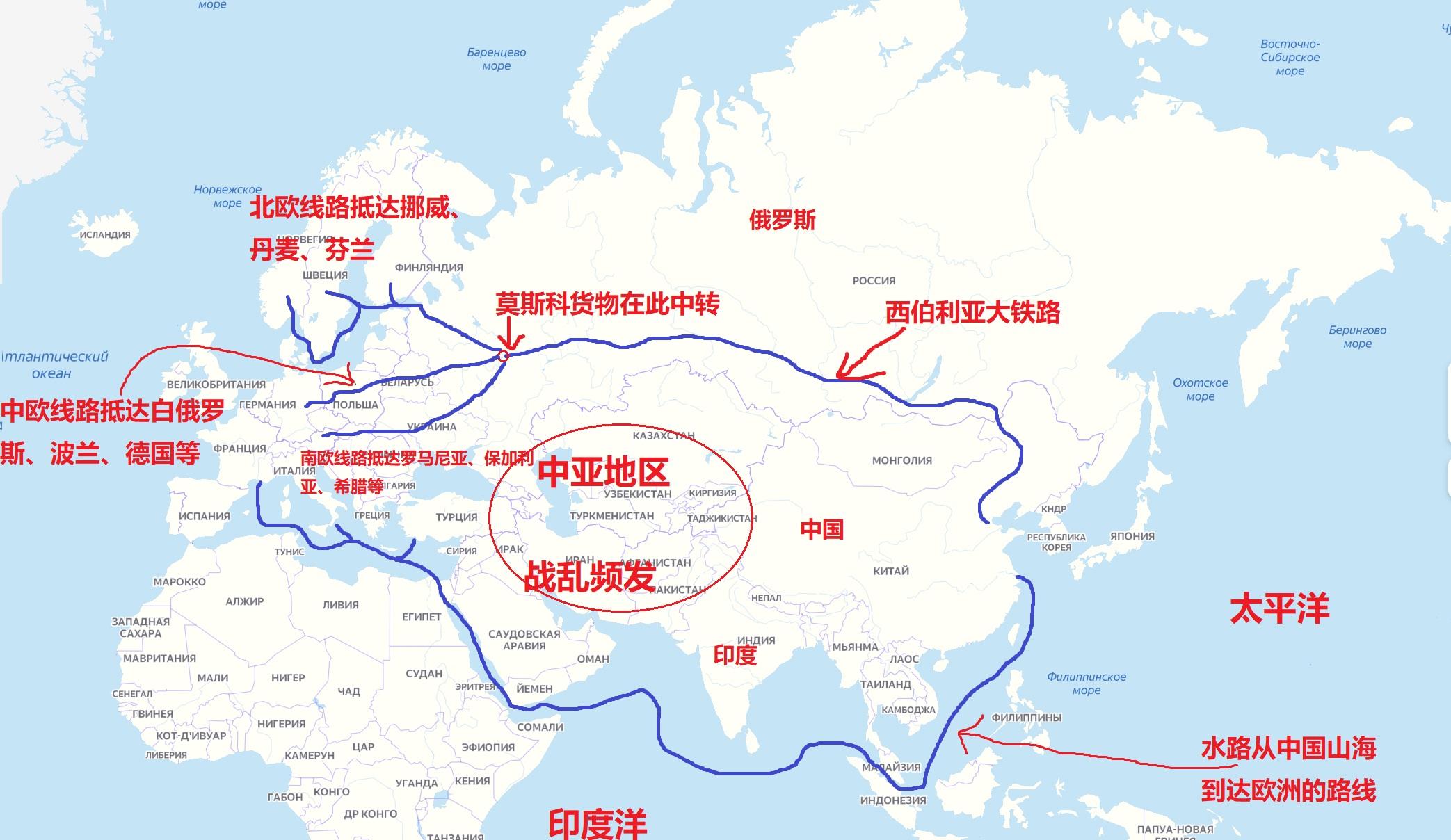 目前比较主流的从亚洲到欧洲的航运线路,由于中亚地区国家多、地形乱,而巴基斯坦的瓜达尔港运力还没有提升,所以上图两条路线依然是最重要的两条路线