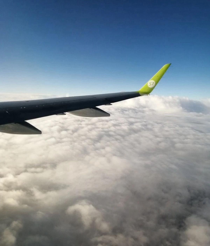 从西伯利亚S7航空的飞机上看新西伯利亚