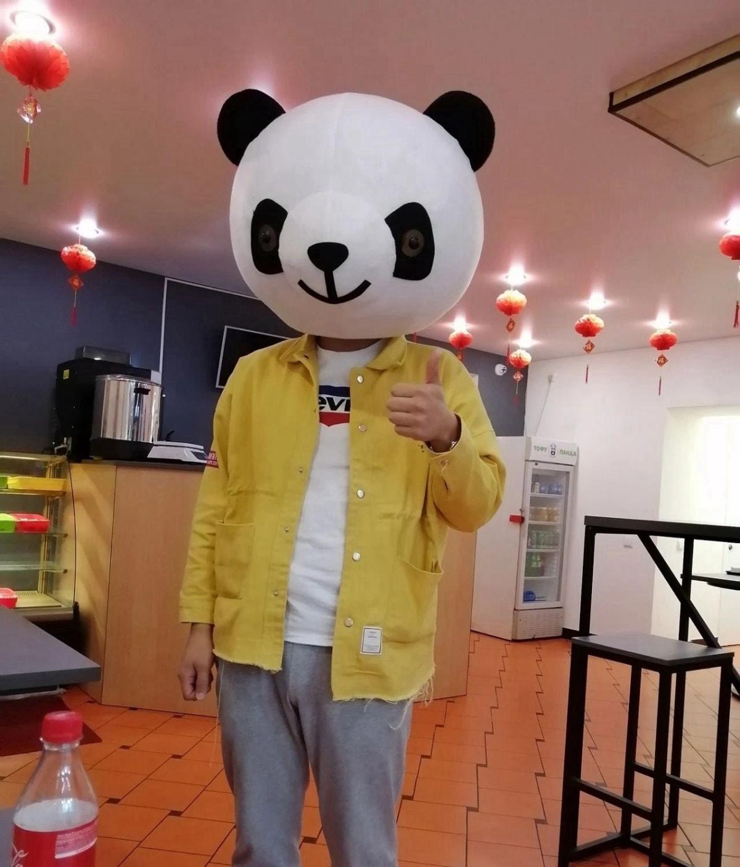 熊猫餐厅的熊猫头盔,带上傻傻的
