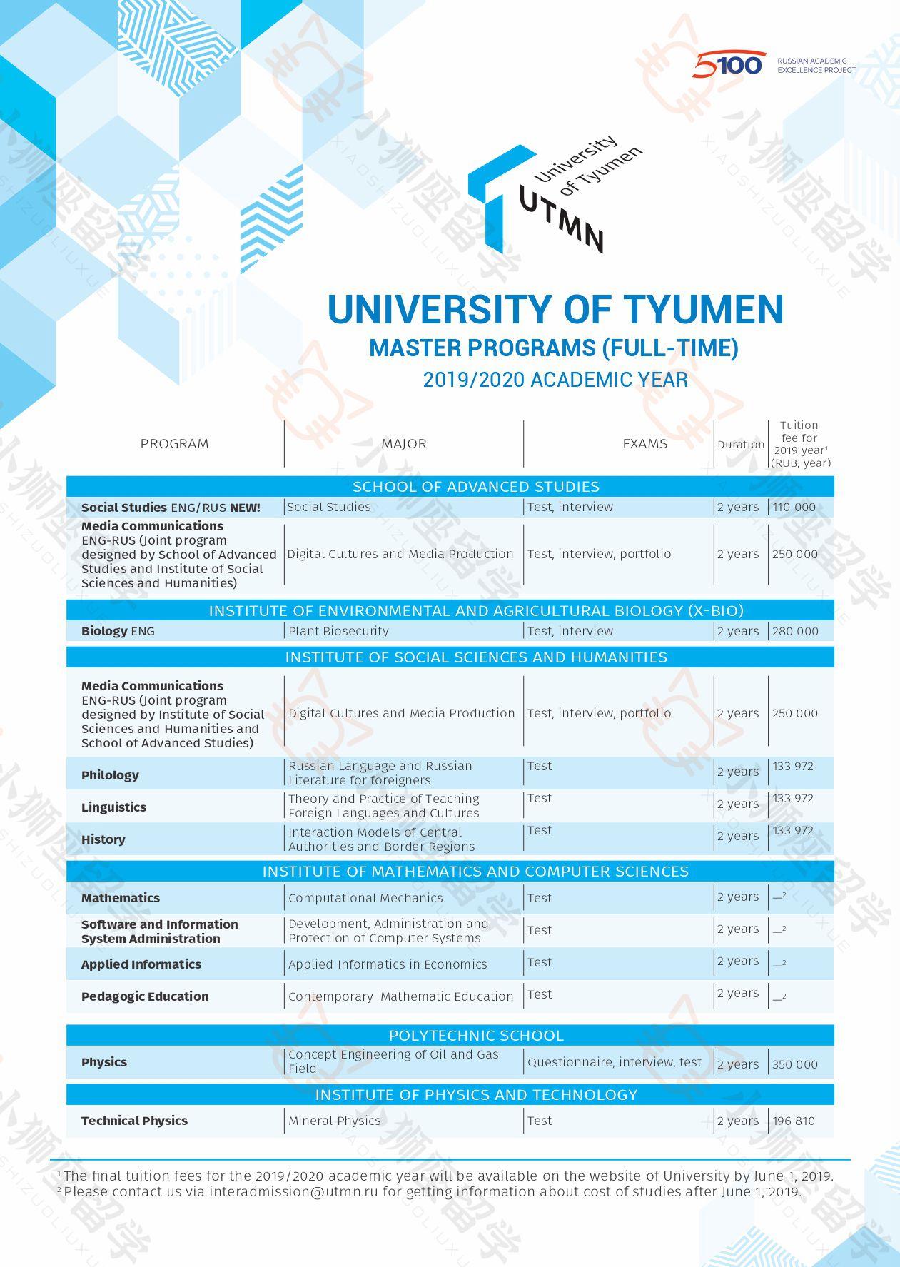 俄罗斯留学|俄罗斯大学|秋明国立大学学费、硕士专业和专业方向列表|秋明国立大学硕士专业介绍